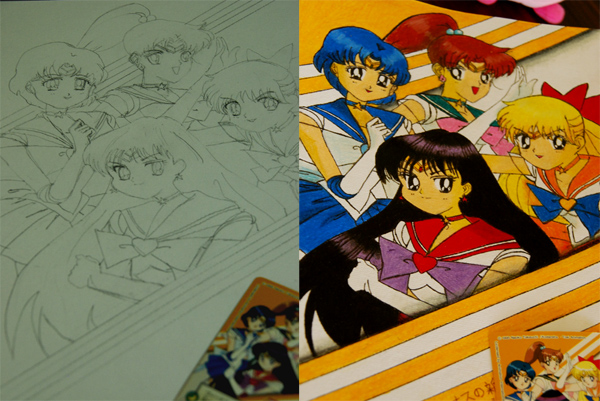 Left: Sketch of poster; Right: Completed poster with colour