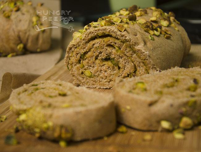 Rolled Wheat Pesto & Pistachio Bread 3