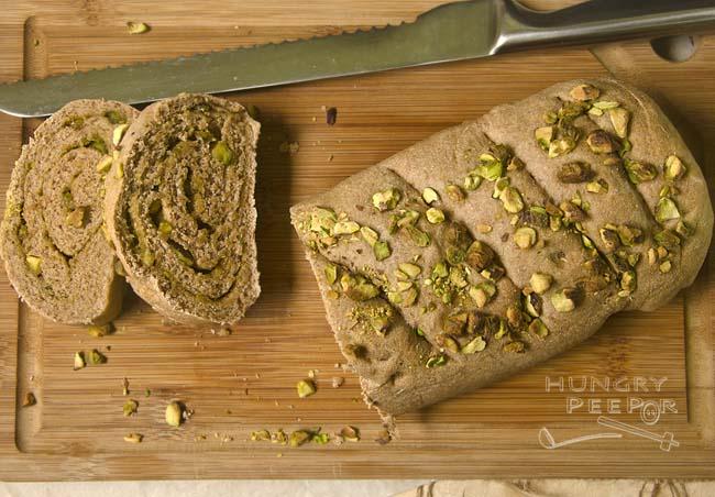 Rolled Wheat Pesto & Pistachio Bread