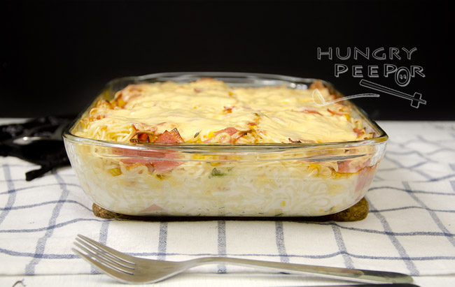 Baked Noodles with Cheese & Ham 2